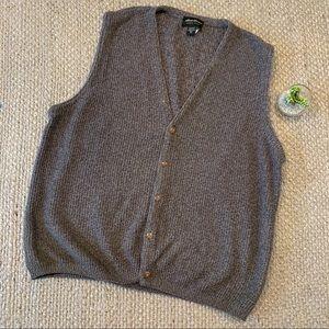 Eddie Bauer Gray Waffle Knit Sweater Vest Cardigan